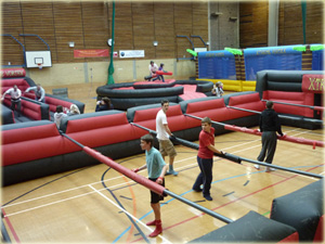 Inflatable activities for hire alongside mobile rock climbing tower in Kent, London, Essex, Sussex, Surrey, Hampshire, Suffolk, Hertfordshire, Buckenhamshire and the Southeast.