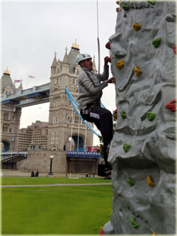 Mobile rock climbing wall and portable rock climbing tower for hire at extreme sports events